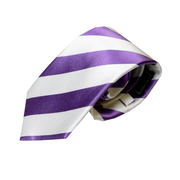 Purple and White Regimental Stripe Woven Silk Tie