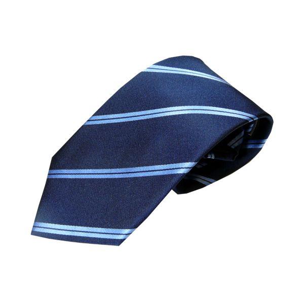 Navy Twin Sky Stripes Woven Silk Tie