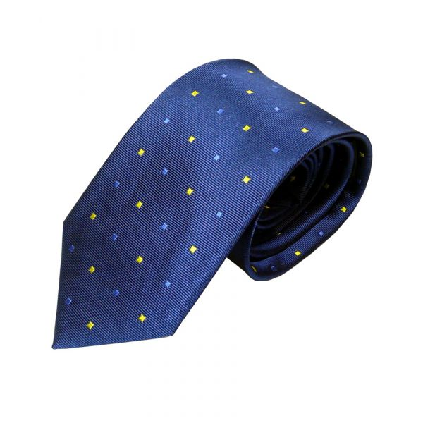 Navy Silk Tie with Small Gold and Blue Squares