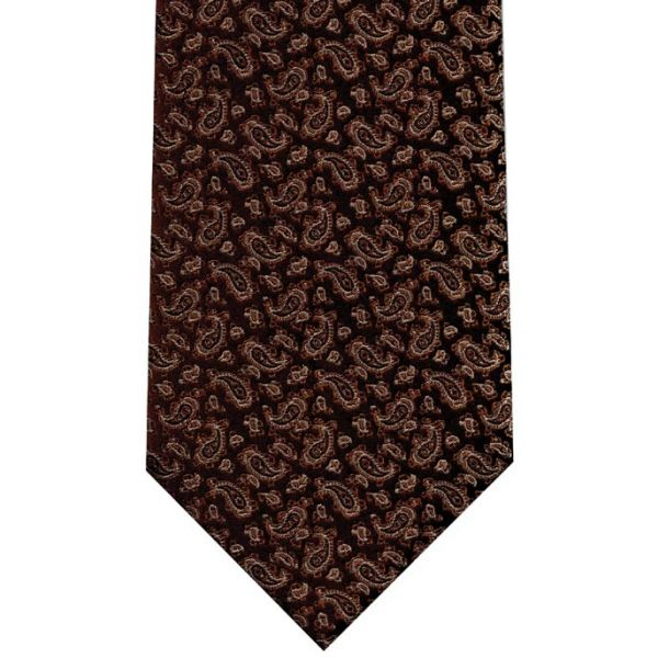 Brown Small Paisley Silk Tie