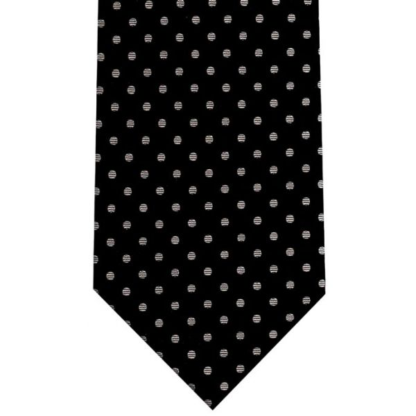 Black Silk Tie with Silver Polka Dots