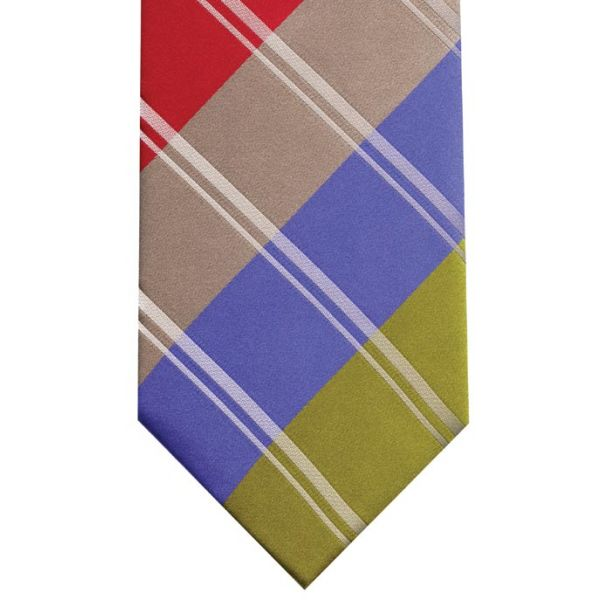 Green Red And Blue Multi Stripe Silk Tie
