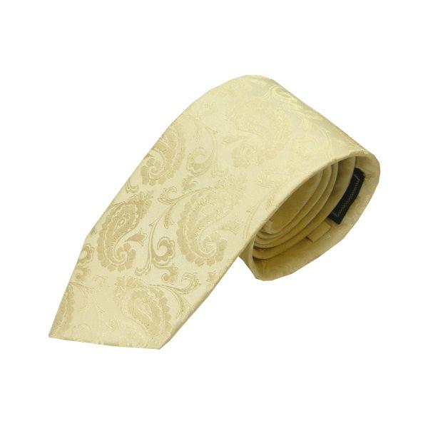 Ivory Woven Paisley Design Silk Tie