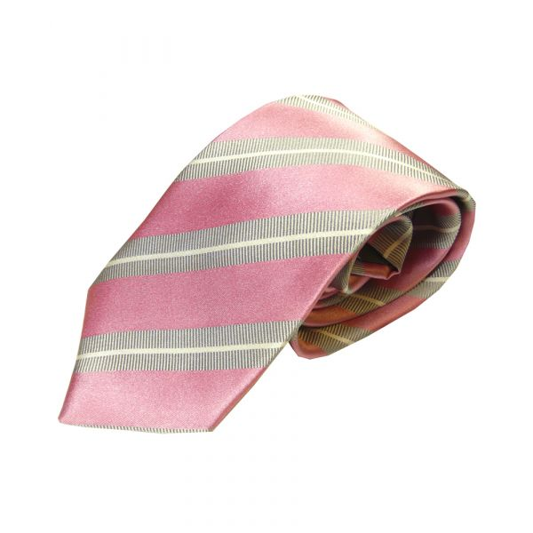 Pink Silver and White Stripes Woven Silk Tie
