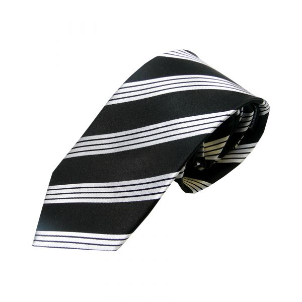 Black Woven Silk Tie with four Woven Stripes