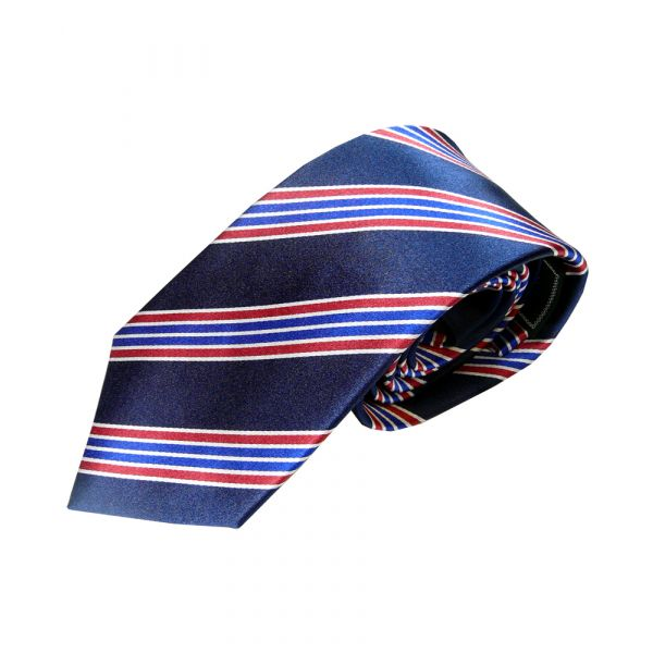 Navy Woven Silk Tie with Blue and Red Multi Stripes