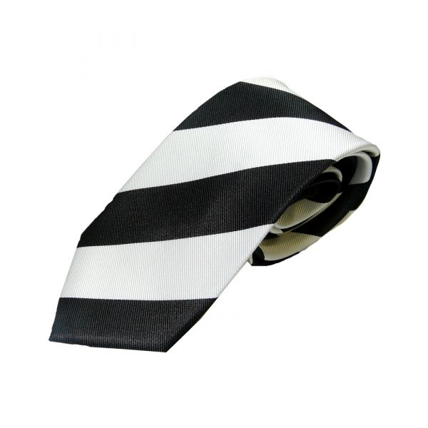 Black and White Regimental Stripe Woven Silk Tie