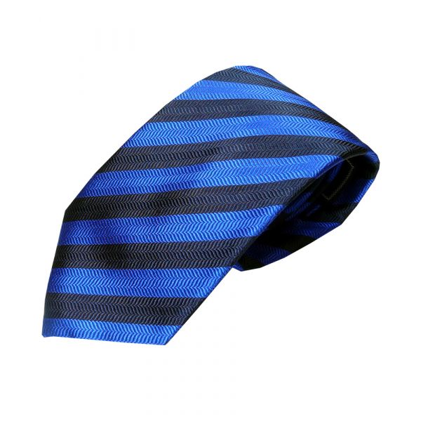 Black and Navy Herringbone Stripe Woven Silk Tie