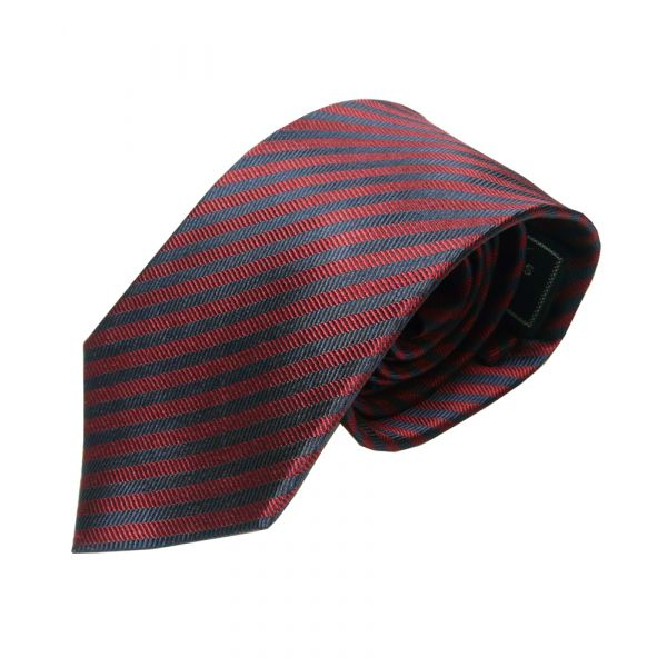 Red and Navy Narrow Stripe Woven Silk Tie