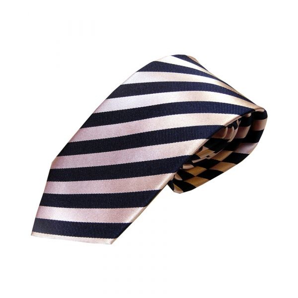 Pink and Navy Stripe Woven Silk Tie