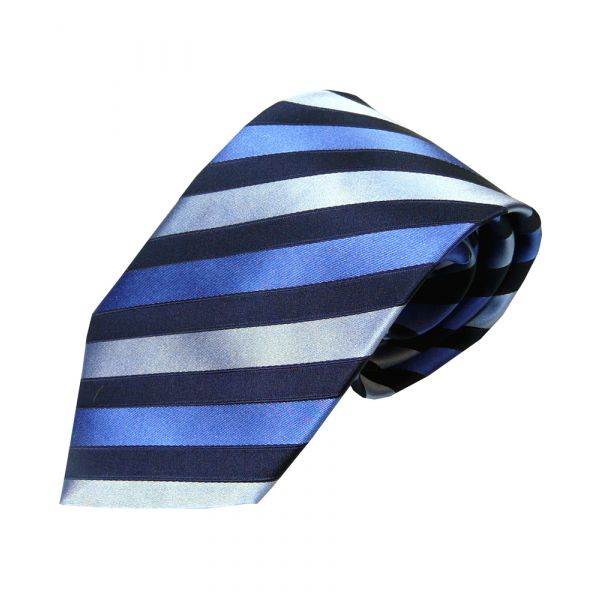 Black Blue and Sky Woven Silk Tie
