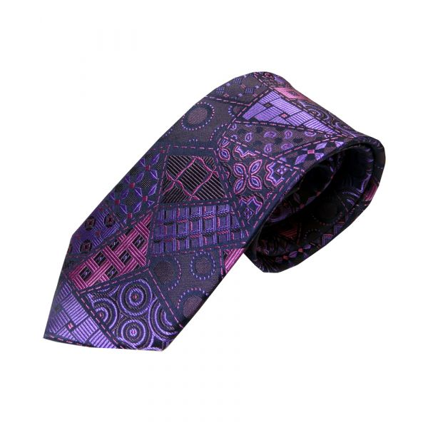 Purple Patchwork Woven Silk Tie