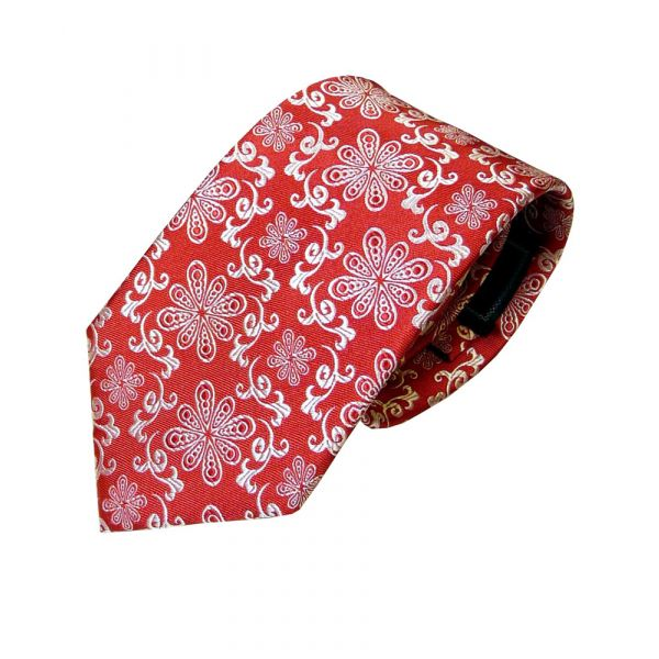 Red and White Floral Design Woven Silk Tie