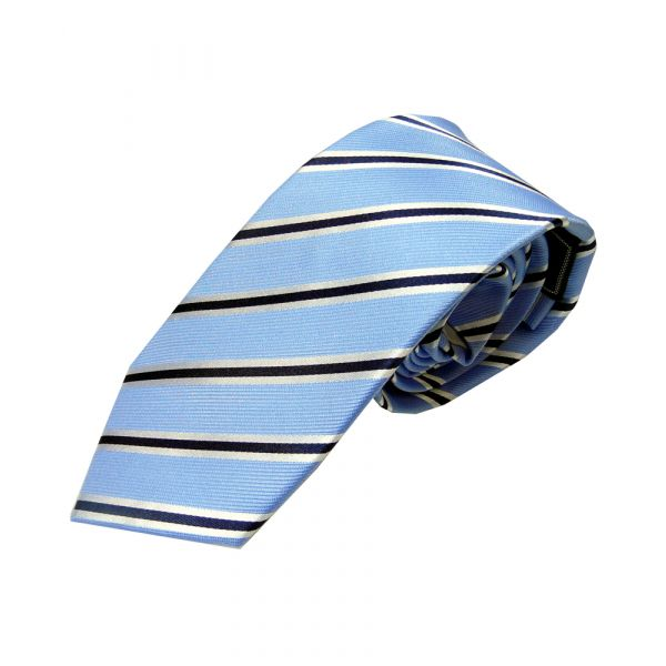 Light Blue with Thin Navy and White Stripe Woven Silk Tie