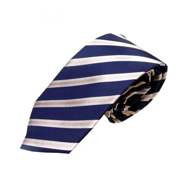 Navy Woven Silk Tie with White and Pink Stripe