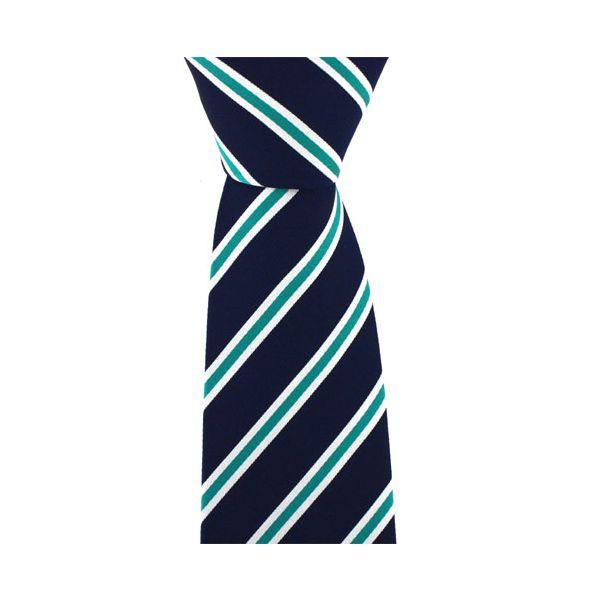Navy Woven Tie with White Green Stripe