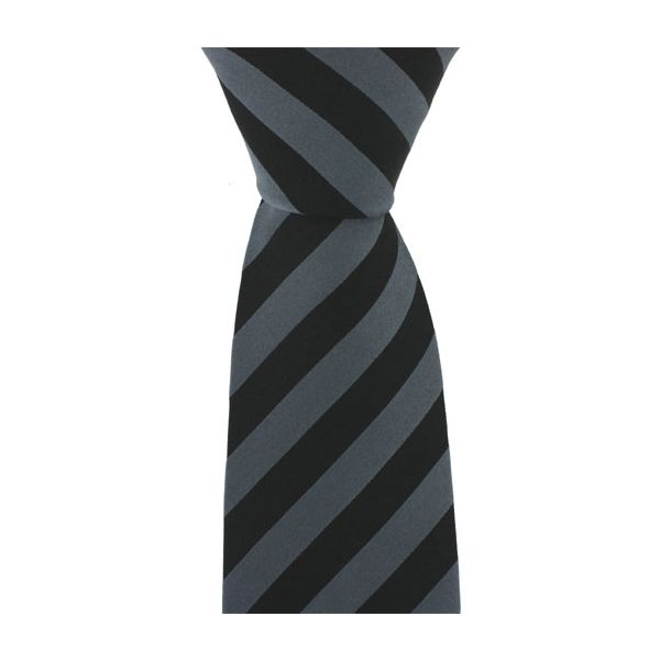 Black and Grey Stripe Woven Silk Tie