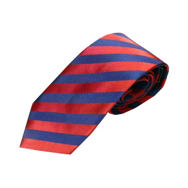 Red and Royal Stripe Woven Silk Tie