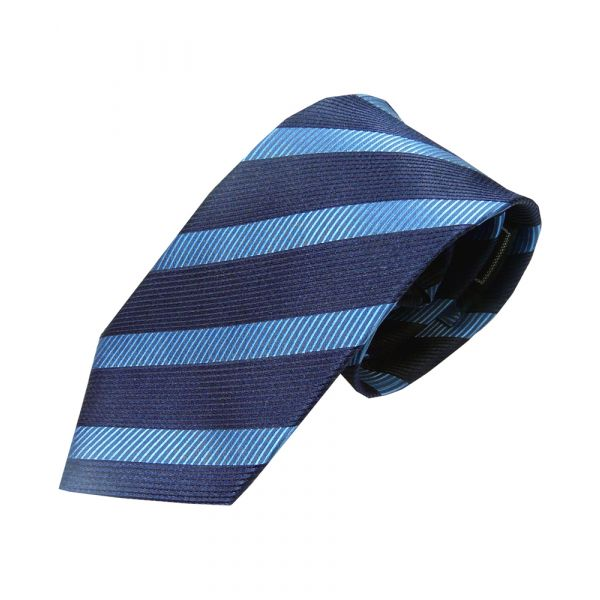 Navy and Textured Blue Woven Silk Tie