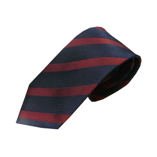 Navy and Red Textured Stripe Woven Silk Tie