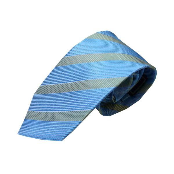 Light Blue and Grey Textured Stripe Silk Tie