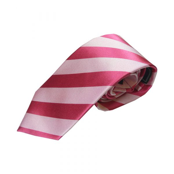 Fuscia and Pink Stripe Woven Silk Tie
