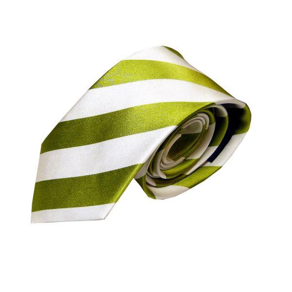 Green and White Regimental Stripe Woven Silk Tie