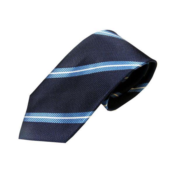 Navy Blue Woven Silk Tie with Thin White Stripe