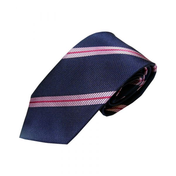 Navy Woven Silk Tie with Thin Pink Stripe
