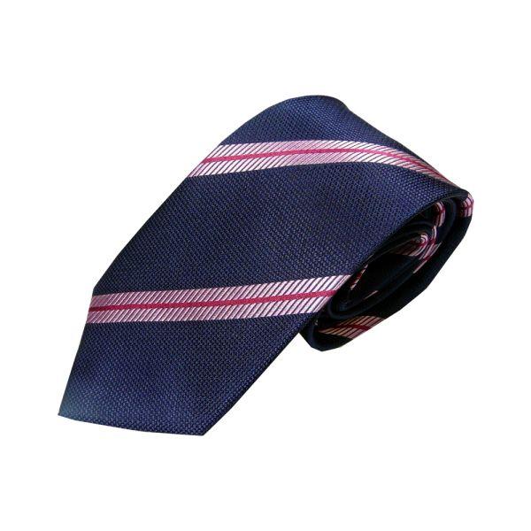 Navy Woven Silk Tie with Thin Pink Stripe