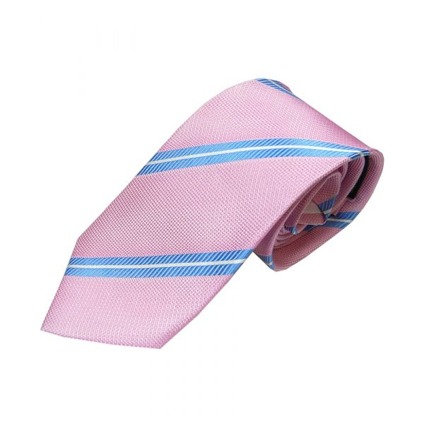 Pink Woven Silk Tie with Blue and White Line