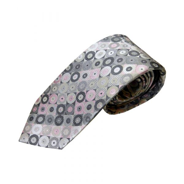 Grey and Pink Split Rings Woven Silk Tie