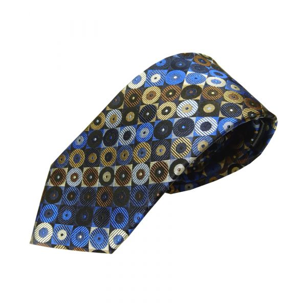 Blue and Brown Split Rings Woven Silk Tie