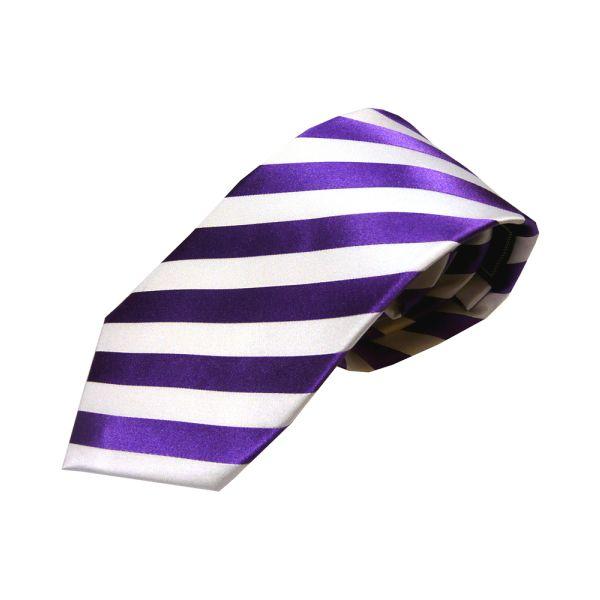 Purple White Satin Woven Stripe Silk Tie