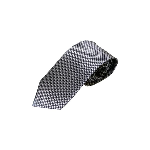 Gunmetal Grey Small Dogtooth Check Woven Silk Tie