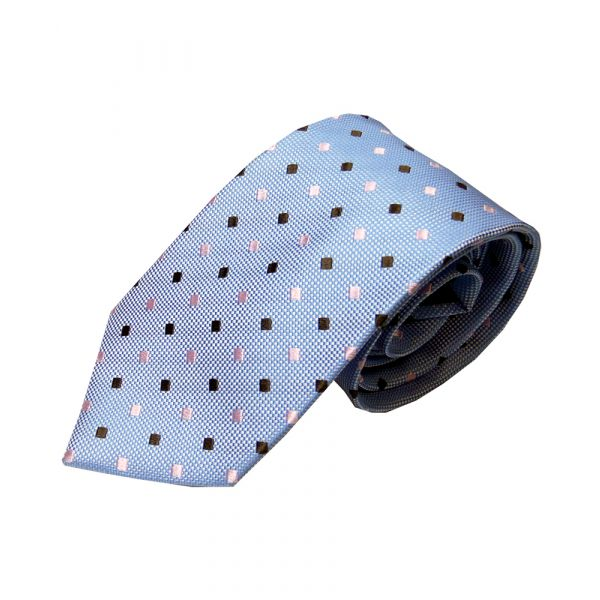 Light Blue Silk Tie with Pink and Brown Diamonds