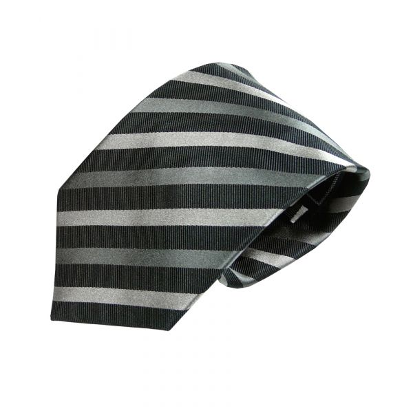 Black and Grey Textured Stripe Woven Silk Tie