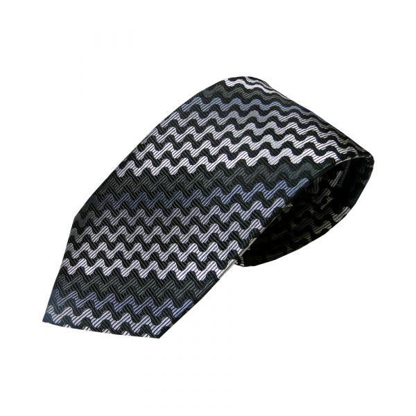 Black and grey Wavy Lines Woven Silk Tie