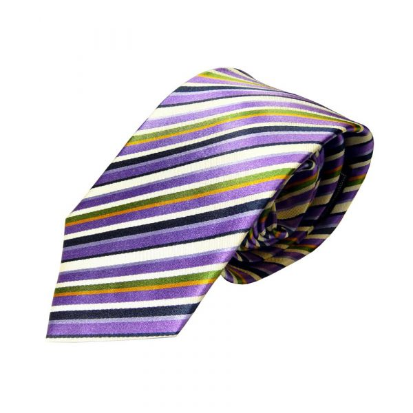 Purple White Black and Green Multi Stripe Woven Silk Tie