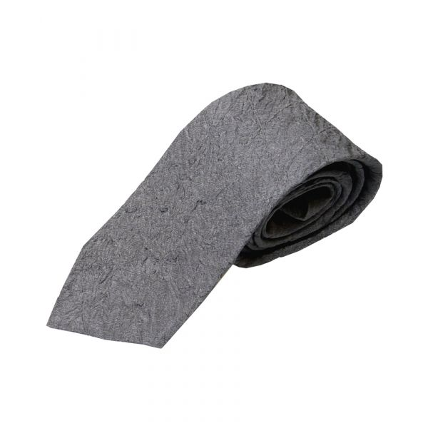 Grey Quilted Silk Tie