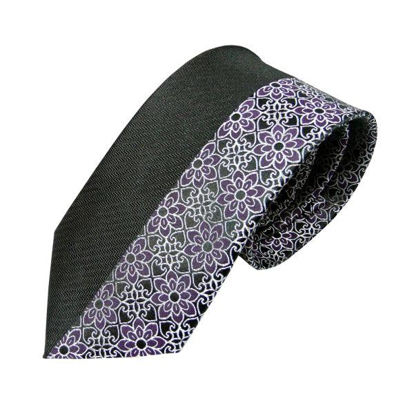 Half Black Half Purple Floral Design Silk Tie