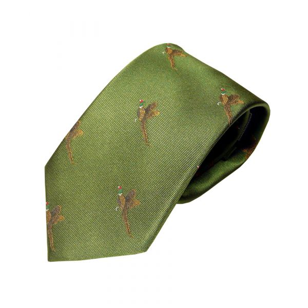 Woven Silk Tie in Green with Flying Pheasants