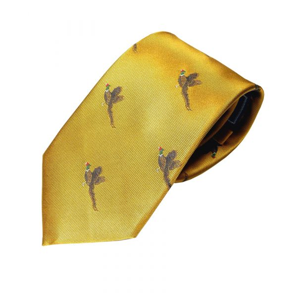 Woven Silk Tie in Mustard with Flying Pheasants