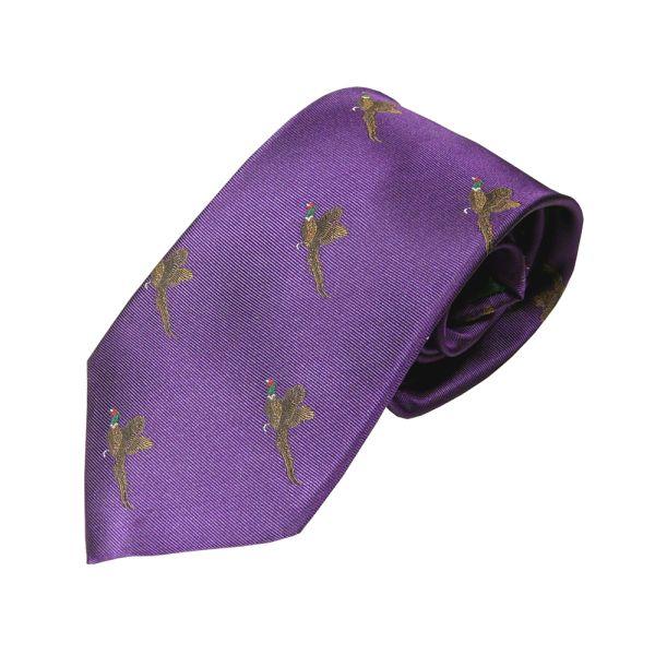 Woven Silk Tie in Purple with Flying Pheasants