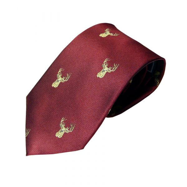 Woven Silk Tie in Wine with Stags Head