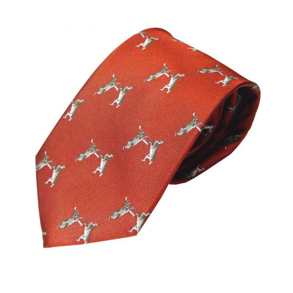 Woven Silk Tie in Red with Boxing Hares