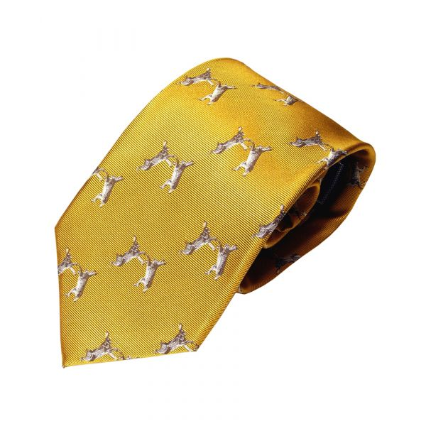 Woven Silk Tie in Mustard with Boxing Hares