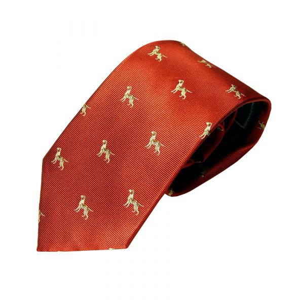 Woven Silk Tie in Red with Hounds