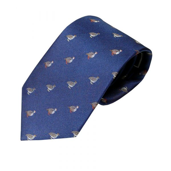 Woven Silk Tie in Blue with Partridges