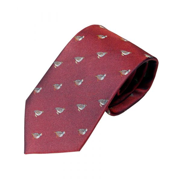 Woven Silk Tie in Red with Partridges